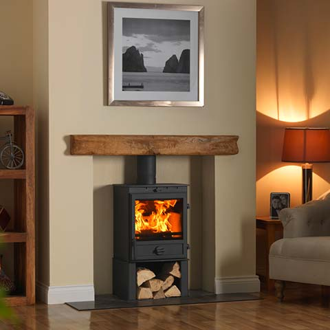 stove with log beam