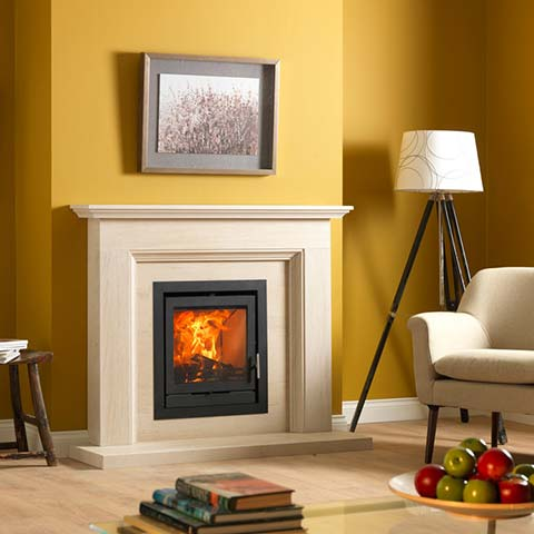 wood burning stove with marble surround