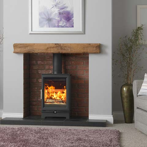 stove with wooden beam