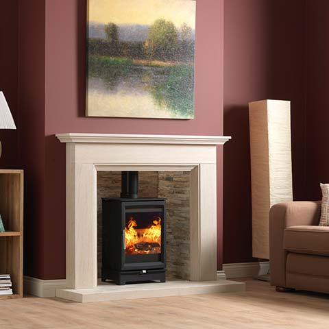 fireplace with marble beam