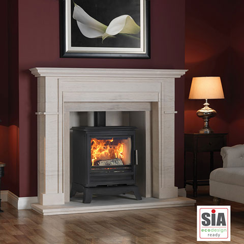 multi fuel stove with marble surround