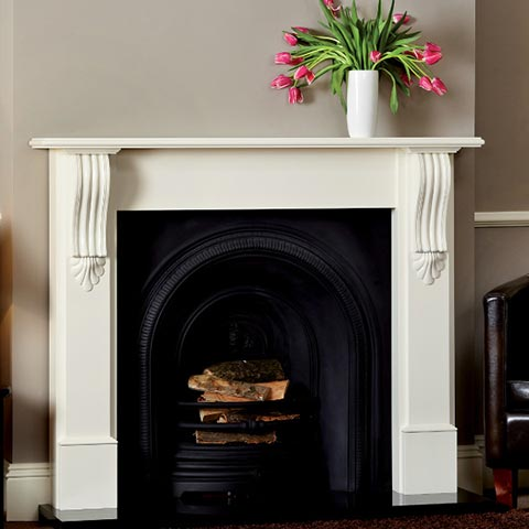 fireplace with wooden surround