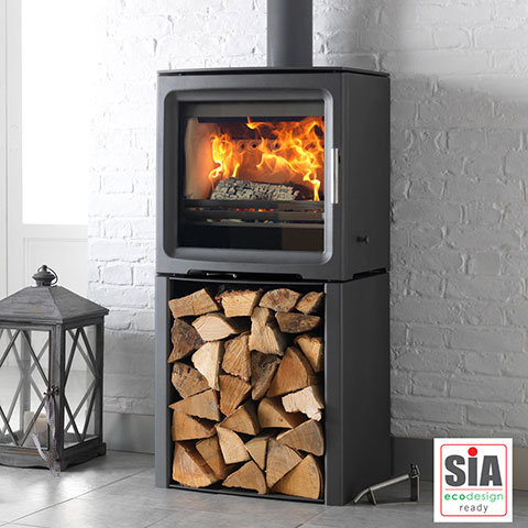 multi fuel stove with log store