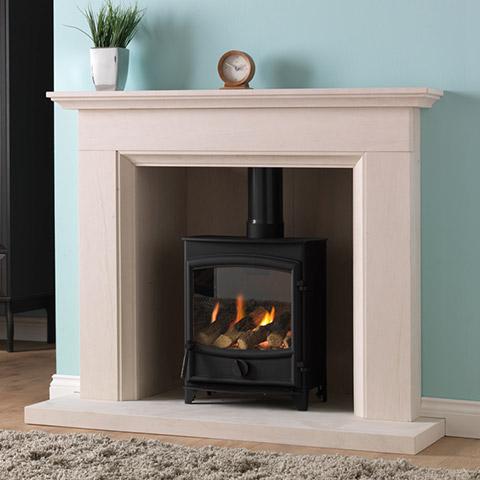 stove with limestone surround