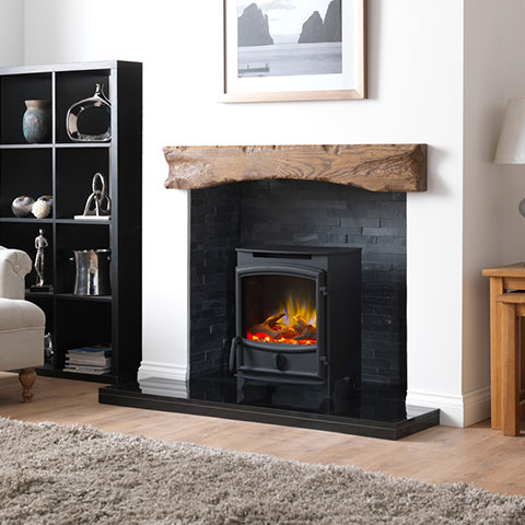 electric stove with wooden beam