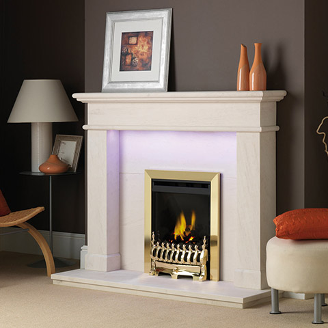 fireplace with limestone surround