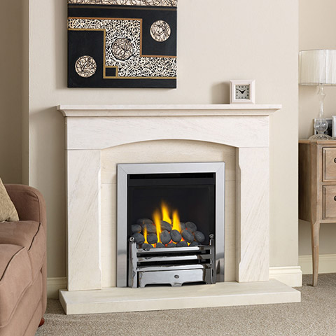 gas fire with limestone surround