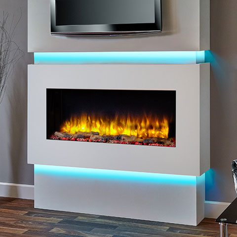 fireplace with lights