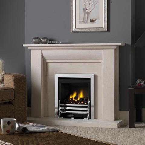fireplace with limestone surround