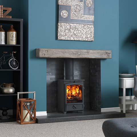 wooden fireplace beam