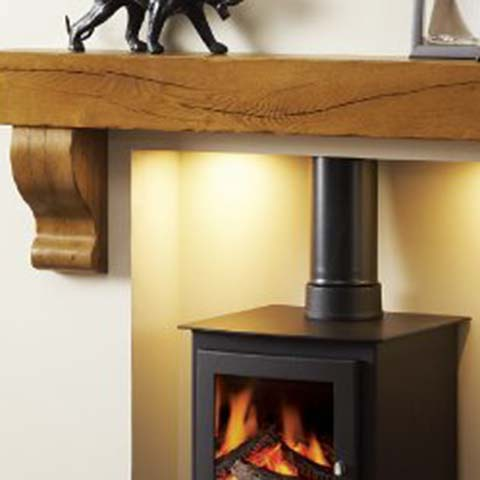 wooden fireplace beam above stove