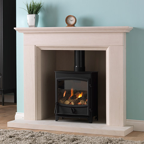 stove with limestone surround