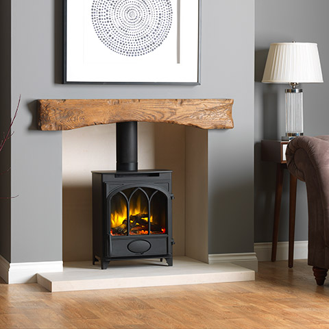 Electric-Fire-With-Wooden-Beam